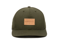 Pike Leather Patch Snapback Cap Olive Green Front View