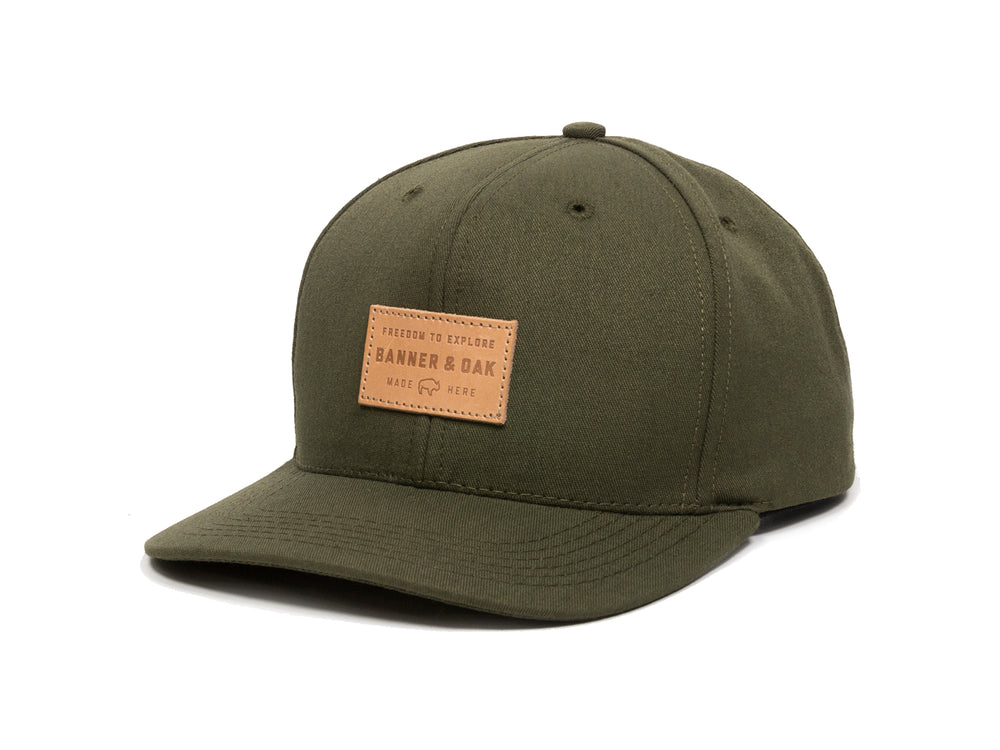 Pike Leather Patch Snapback Cap Olive Green Front Right View