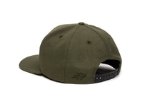 Pike Leather Patch Snapback Cap Olive Green Logo Side Hit