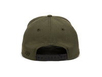 Pike Leather Patch Snapback Cap Olive Green Back View