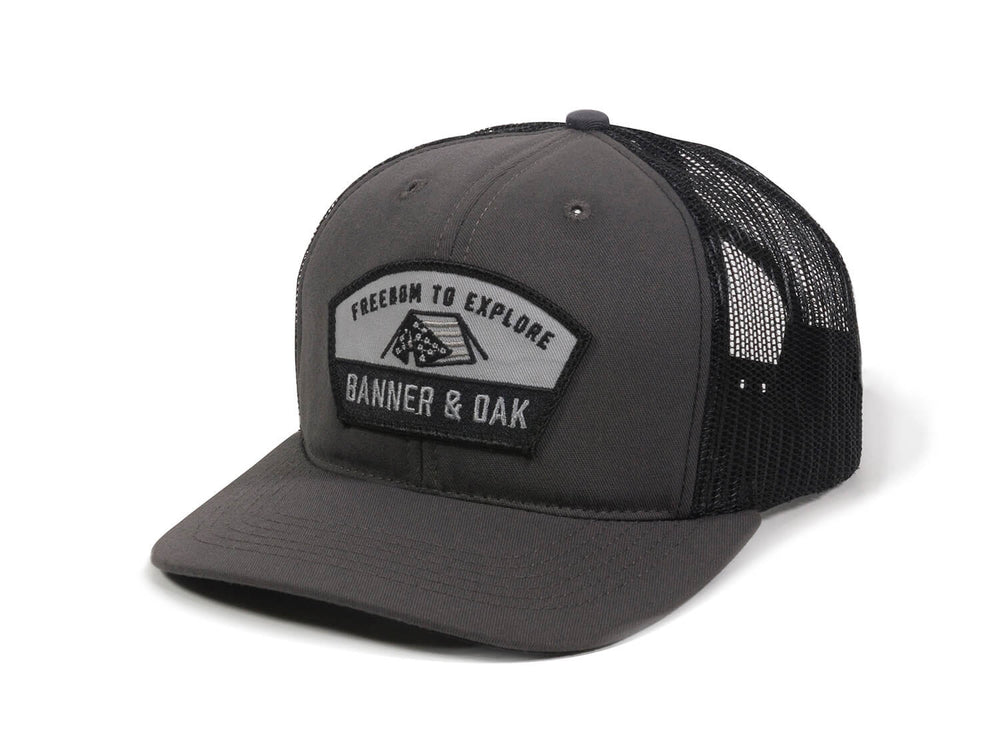Scout Patch Snapback Trucker Hat Charcoal Front Right View
