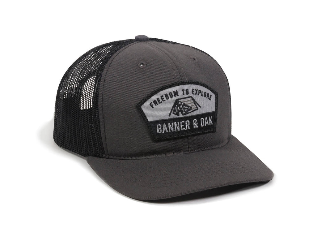 Scout Patch Snapback Trucker Hat Charcoal Front Left View