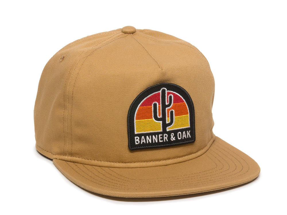 Switchback Embroidered Scout Patch Snapback Cap Khaki Front Left View