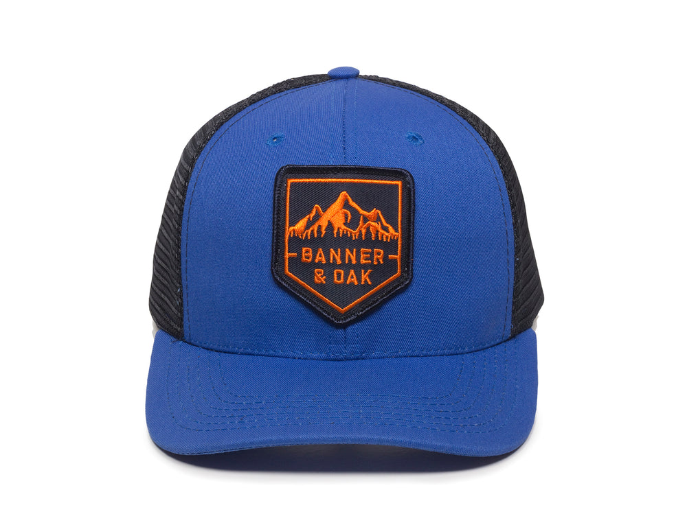 Sierra Scout Patch Snapback Trucker Hat Royal Blue Front View