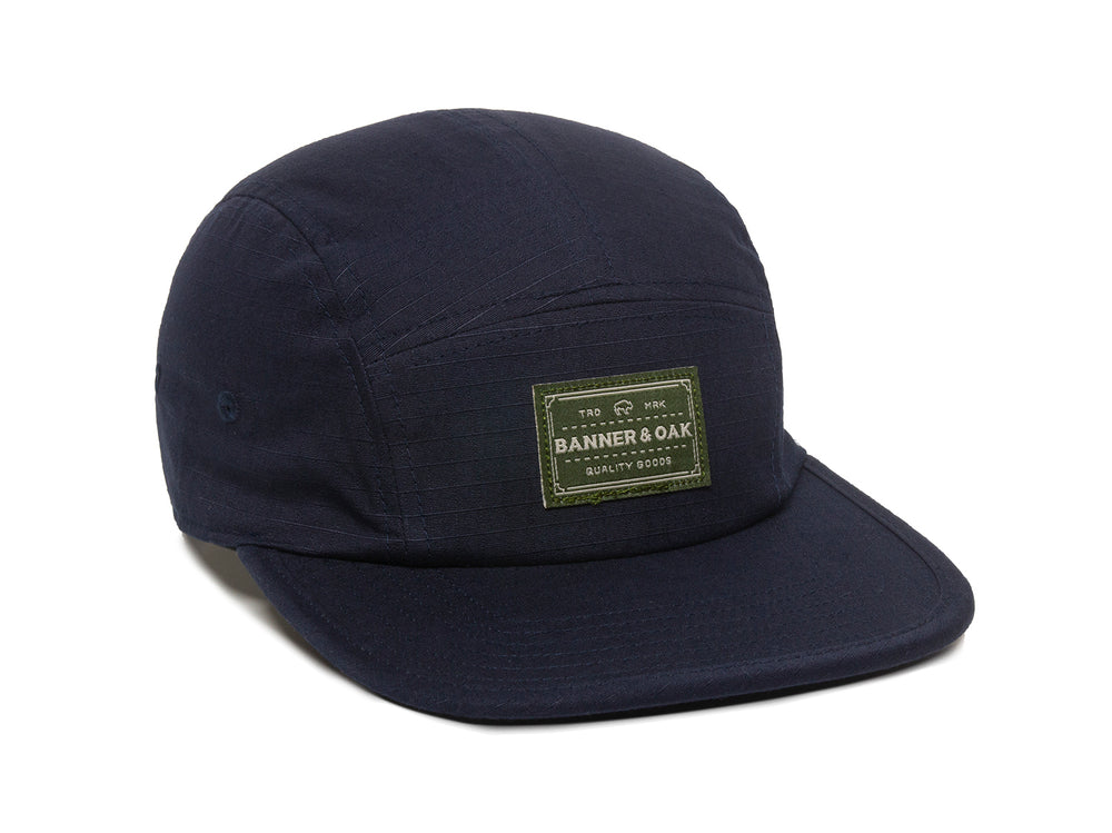Trailhead Woven Label Patch Cap Navy Front Left View