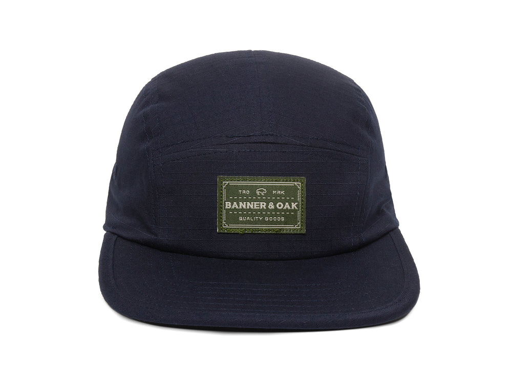 Trailhead Woven Label Patch Cap Navy Front View