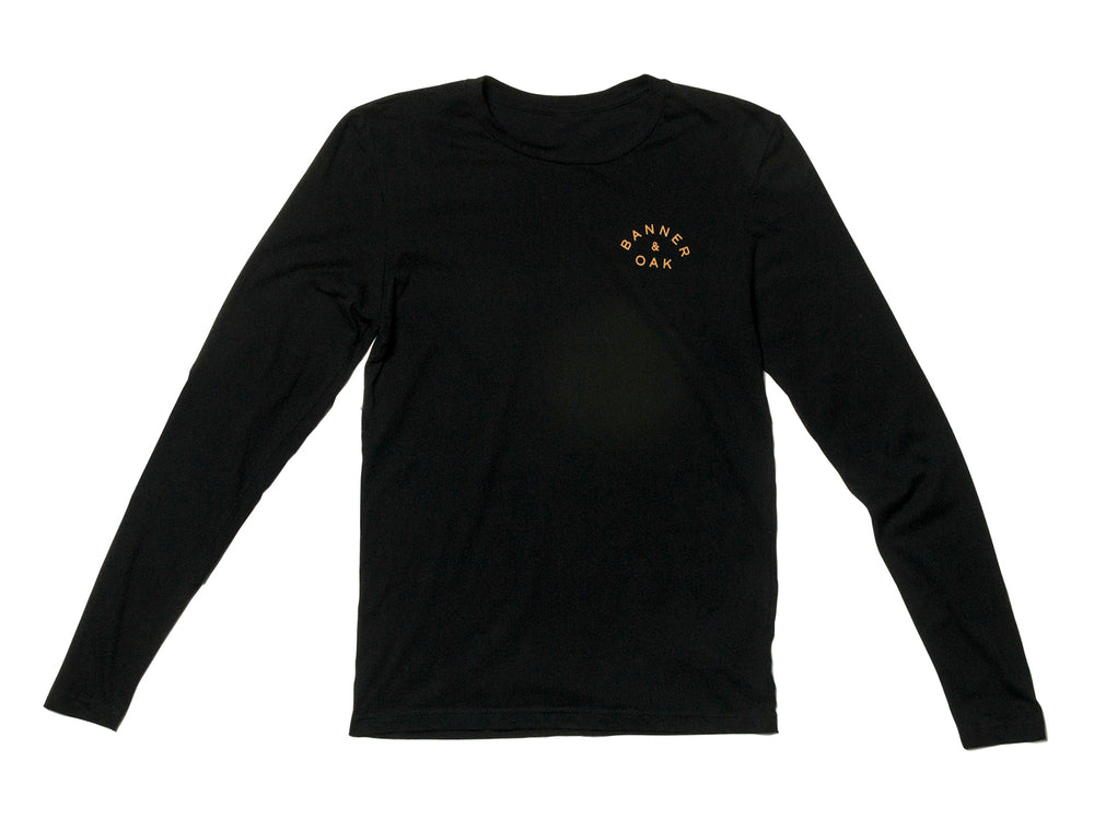 Traveler Crewneck Long Sleeve T-Shirt Black Front View