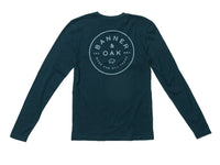 Traveler Crewneck Long Sleeve T-Shirt Indigo Blue Back View
