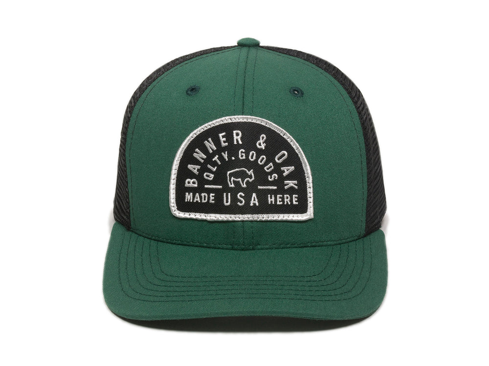 Vista Scout Patch Snapback Trucker Hat Hunter Green Front View
