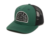 Vista Scout Patch Snapback Trucker Hat Hunter Green Front Right View