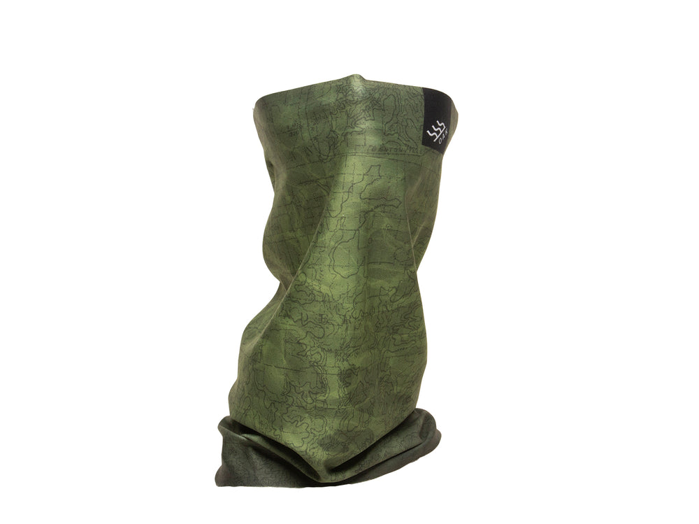Topo Convertible Neck Gaiter Headband Olive Green Side View