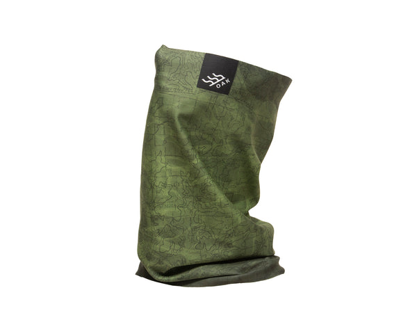 Topo Convertible Neck Gaiter Headband Olive Green Front View