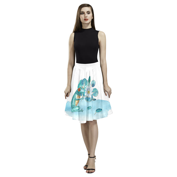 Frog Lily Skirt Melete Pleated Midi Skirt (Model D15)