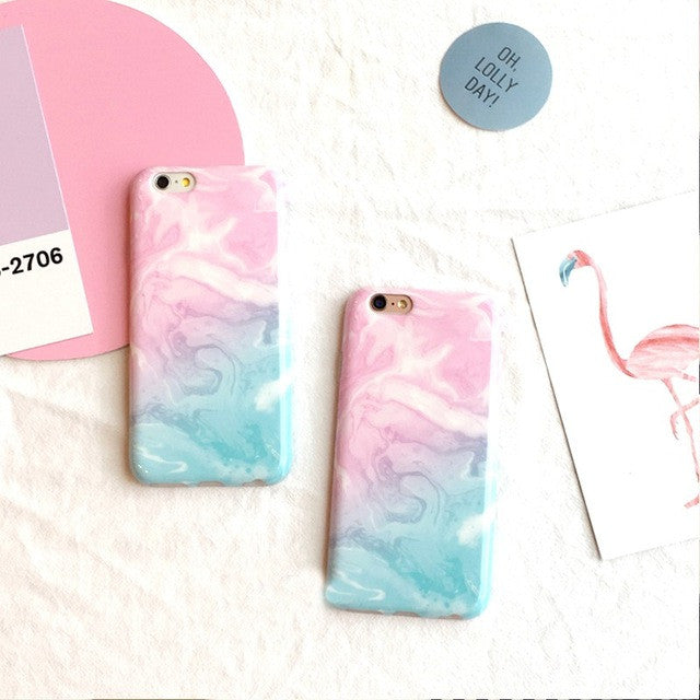 big sale 6ce74 8c6e7 Candy color Gradient Marble soft pink light blue for iPhone 6 6S 6plus  6Splus 7 7plus 5 5s fashion back cover free shipping