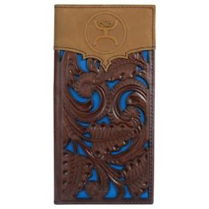 Signature Tooled Rodeo Wallet with Blue Cutouts