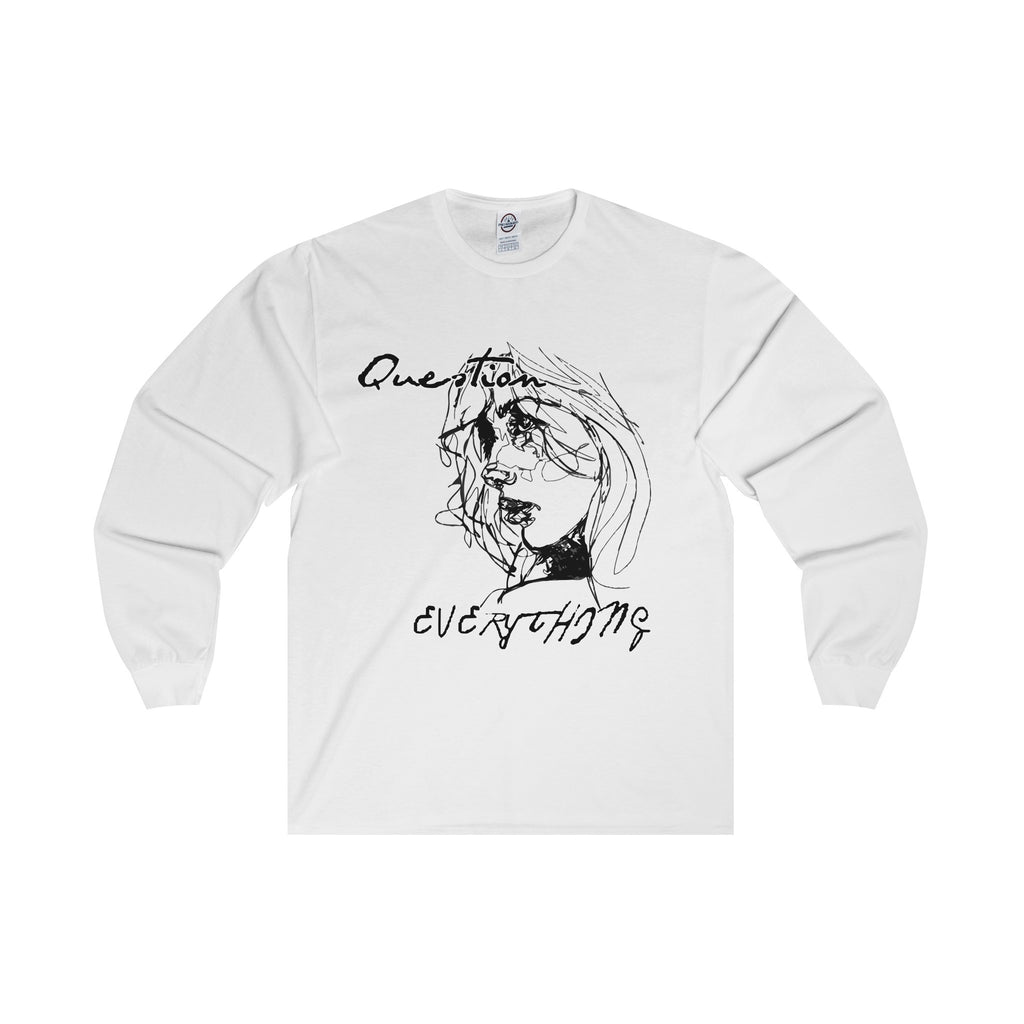 Question Everything Black Design Long Sleeve Tee (2 colors available)