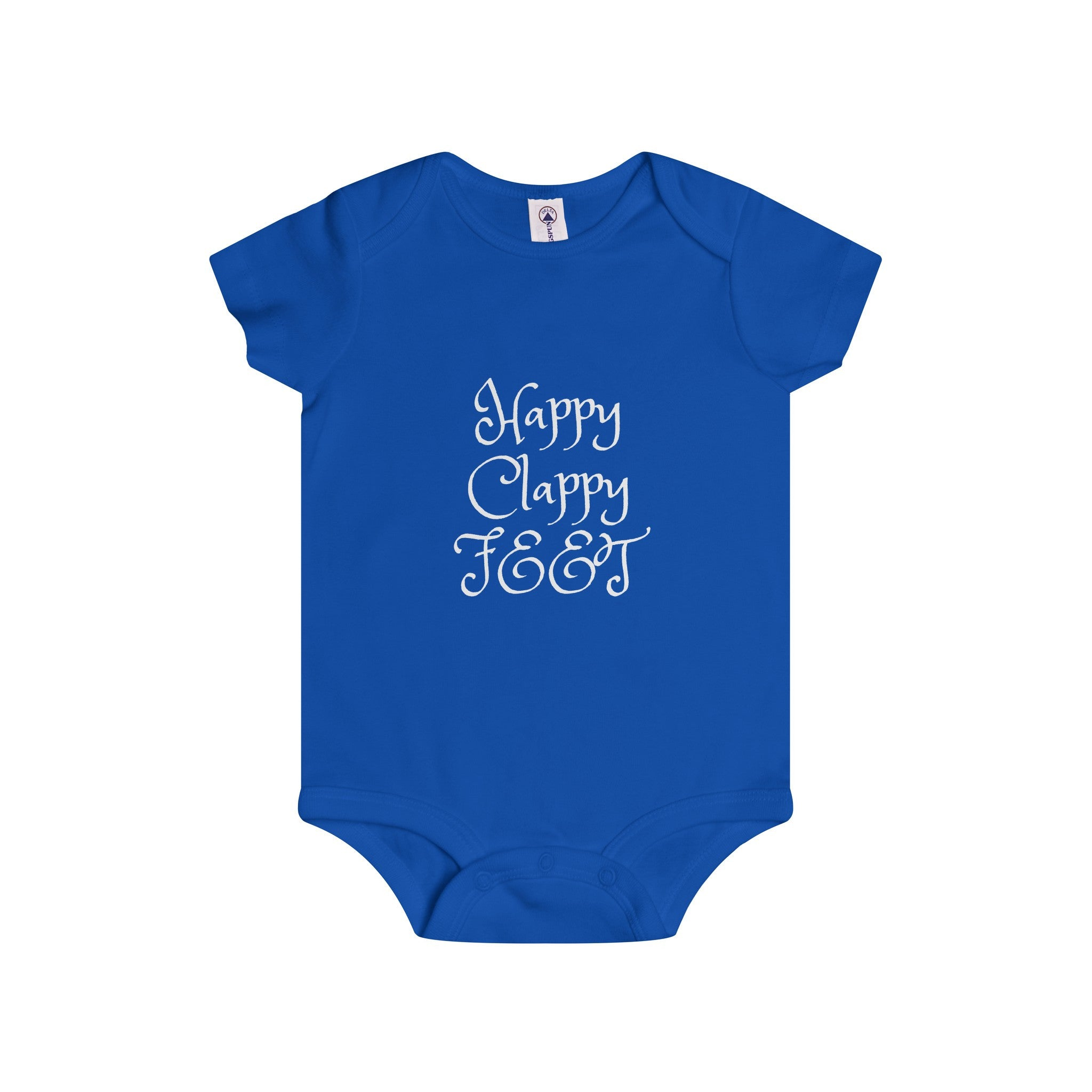 Clappy Happy Feet White Letter Onesie (4 colors available)