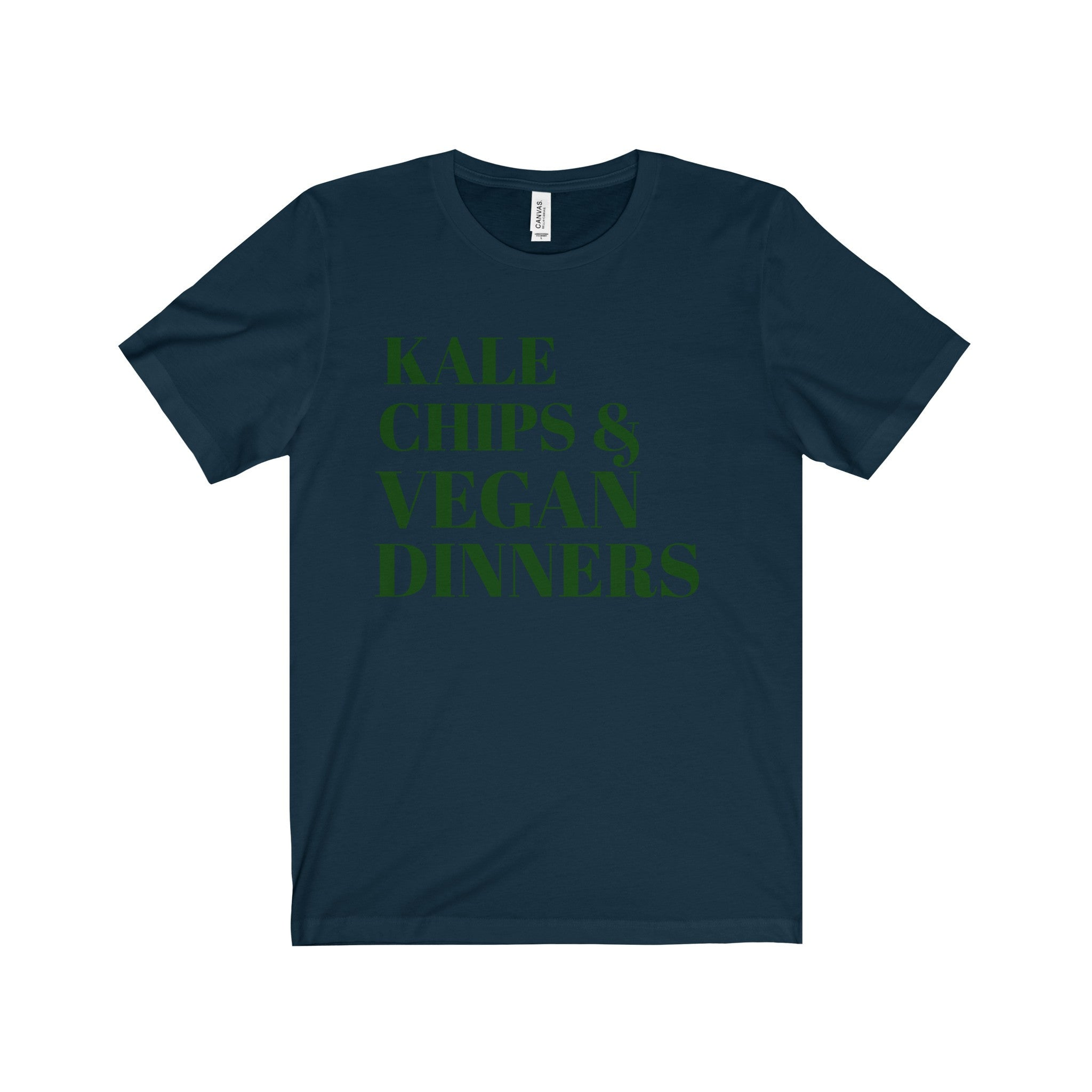 Kale Chips and Vegan Dinners Evergreen Letter Tee (8 colors available)