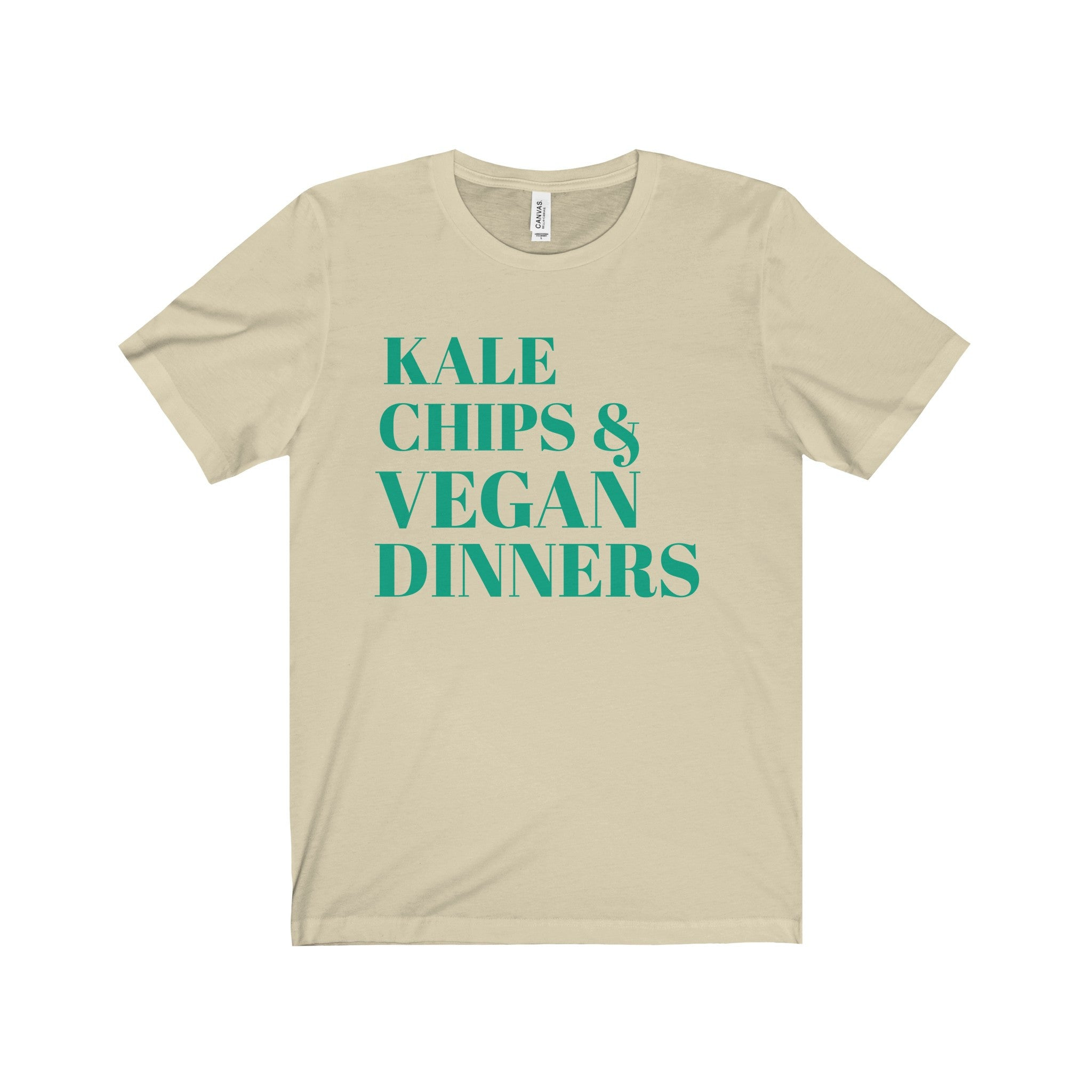 Kale Chips and Vegan Dinners Teal Letter Tee (6 colors available)