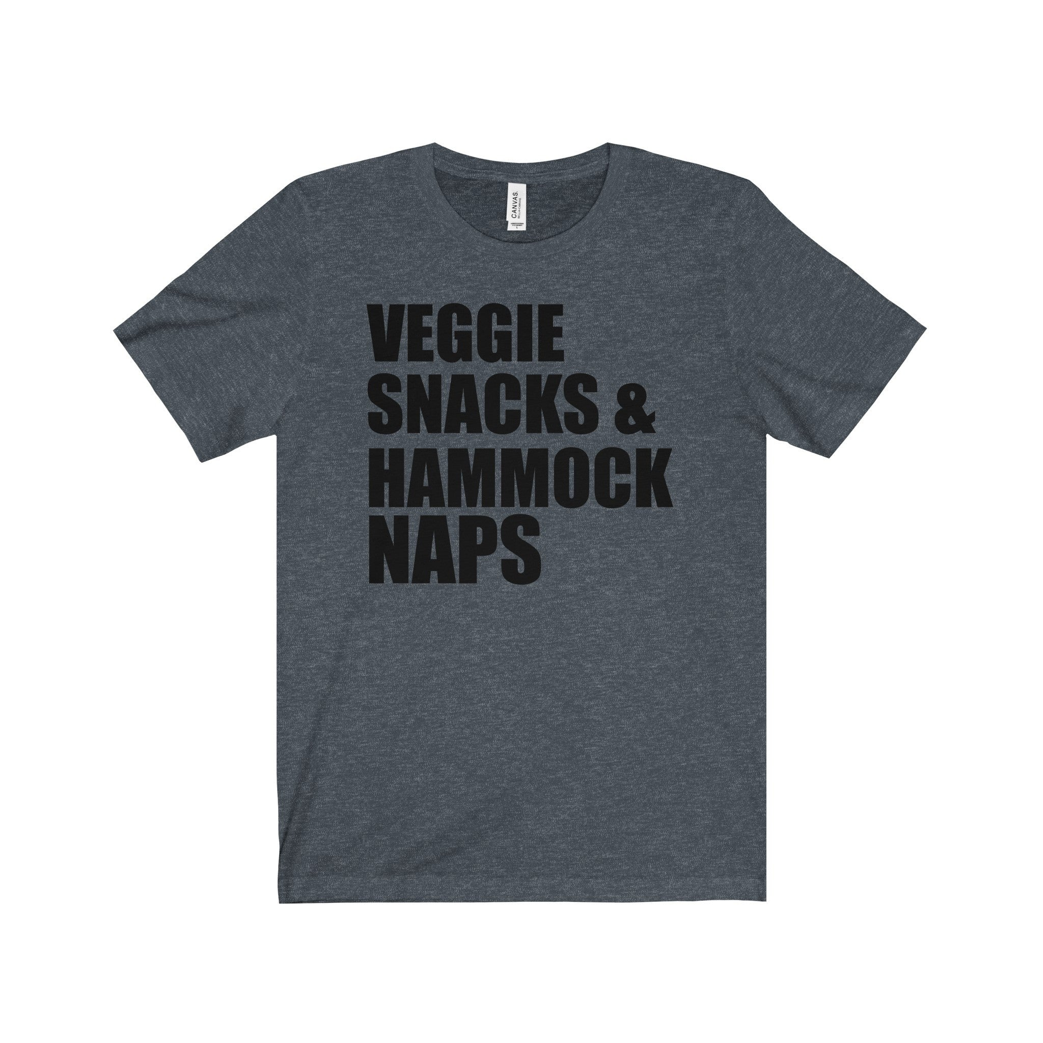 Veggie Snacks and Hammock Naps Black Letter Tee (6 colors available)