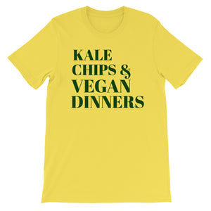 Kale Chips and  Vegan Dinners  Evergreen Letter Tee