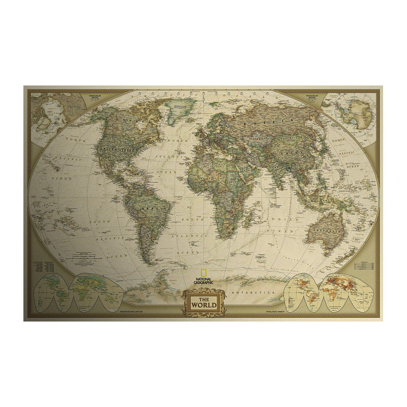 Retro Antique World Map Poster Silk N Spice - Retro world map poster