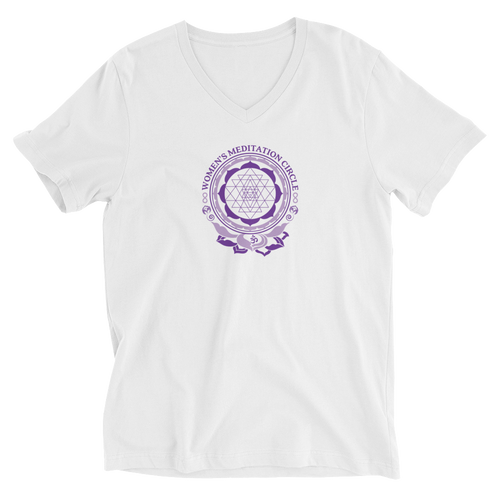 Sarasota Women's Meditation Circle Unisex Short Sleeve V-Neck T-Shirt/ Tee Shirt from The BhakTee Life brand.