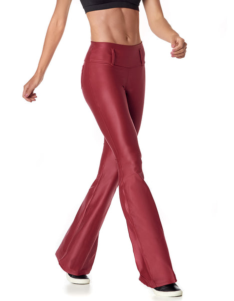 Red bellbottom leggings