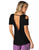 Black open back activewear shirt for women