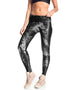 BLACK PRINTED PLIE LEGGINGS