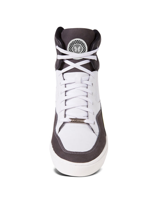 White and silver hightop women's sneakers