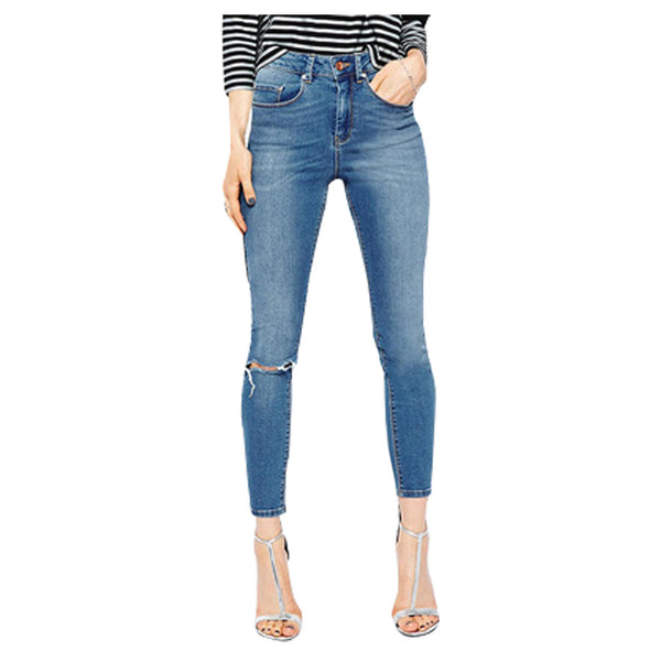 Skinny Jeans For Women Europen Style Slim Pencil Pants Knee Hole