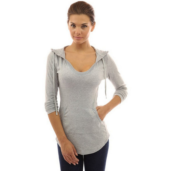 Women T-shirt Long Sleeve V-neck Pullover Hoodie With Pocket Casual Slim Fit