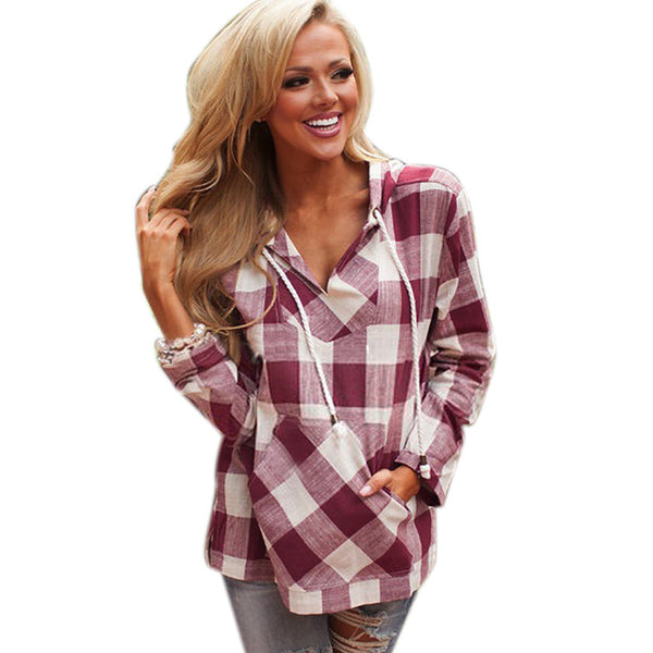 Long Sleeve Black and White/Red and White Plaid Hoodies