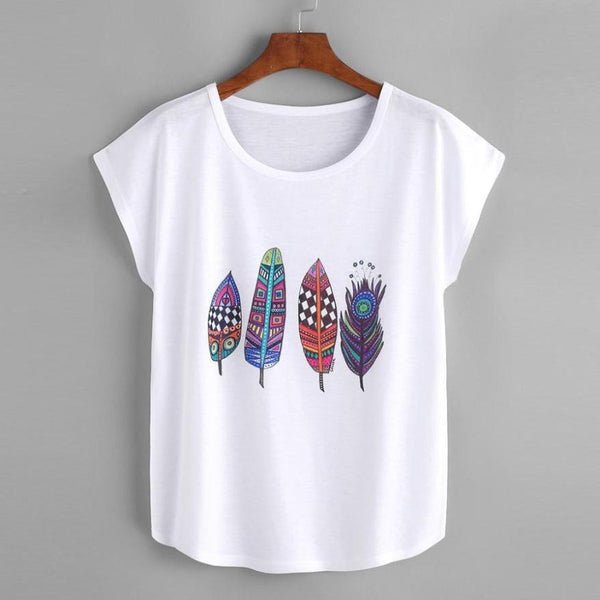 Feather Print White T Shirt Women Short Sleeve
