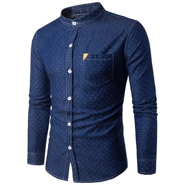 Blue Autumn Men Denim Shirt Long Sleeve