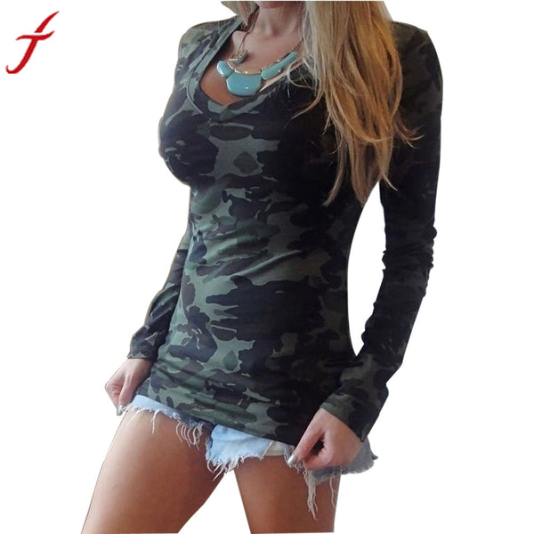 Women Fashion Long Sleeve V-neck Camouflage Printing Slim Casual T-shirt