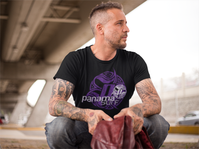Man with Logo Squared in white and purple over a black premium fitted short sleeve crew neck tee. Super-soft 100% combed ring-spun cotton high-end jersey 4.3 oz. from the Panama Surf® brand apparel line.