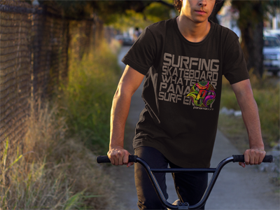 Young man wearing Multi Board design in over a black premium fitted short sleeve crew neck tee. Super-soft 100% combed ring-spun cotton high-end jersey 4.3 oz.