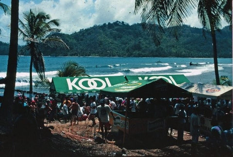 View of the waves at the 1994 ASP PANAMA SURF - KOOL Surf World Tour at Isla Grande, Province of Colon in Panama.