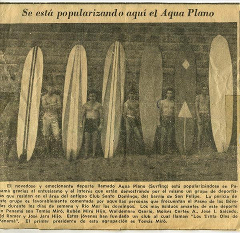 Tomas Miro early newspaper article-classic surf apparel-classic surf t shirts-waterman