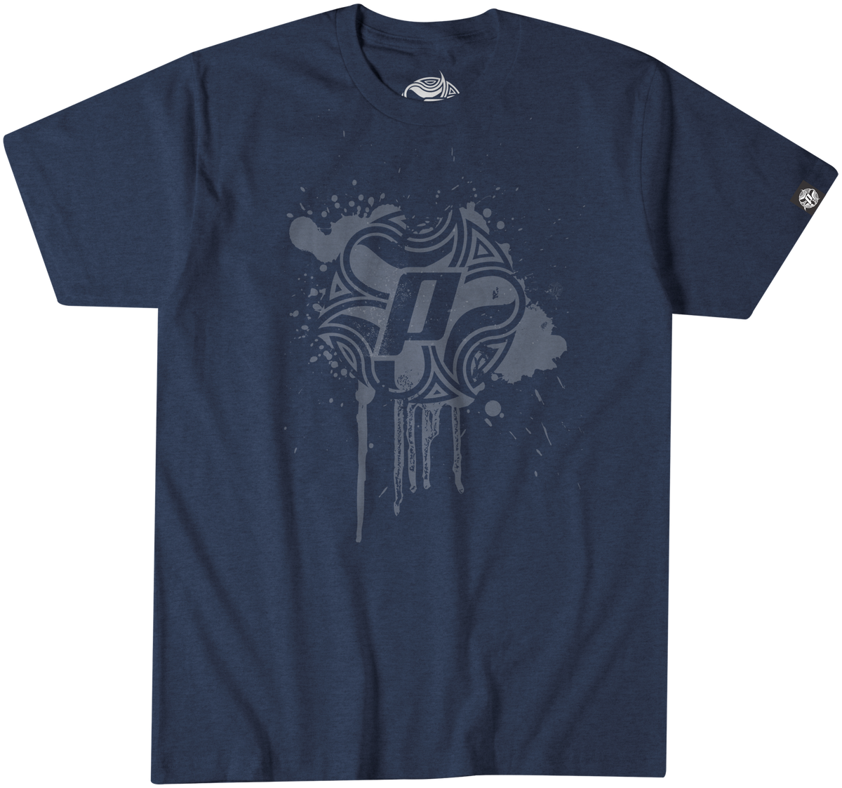 Panama Surf tee with Drip design in white over a indigo 50% polyester/25% combed ringspun cotton/25% rayon jersey 4.3 oz.