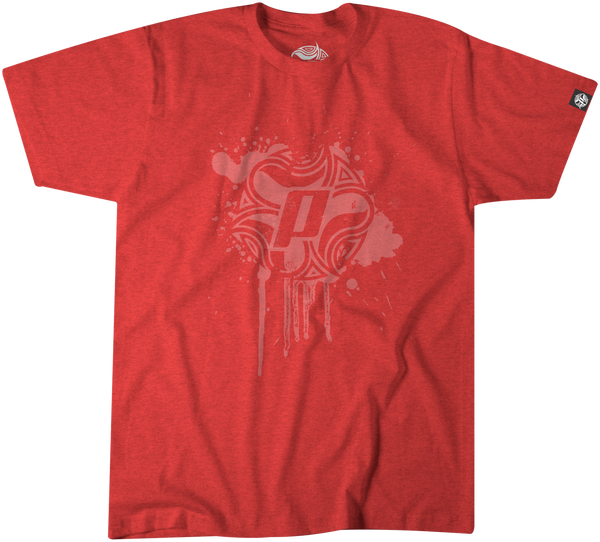 Panama Surf tee with Drip design in white over a vintage red 50% polyester/25% combed ringspun cotton/25% rayon jersey 4.3 oz.