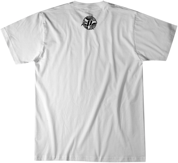 Back side of graphic tee with Top Ten design in black over a white premium fitted short sleeve crew neck tee. Super-soft 100% combed ring-spun cotton high-end jersey 4.3 oz.