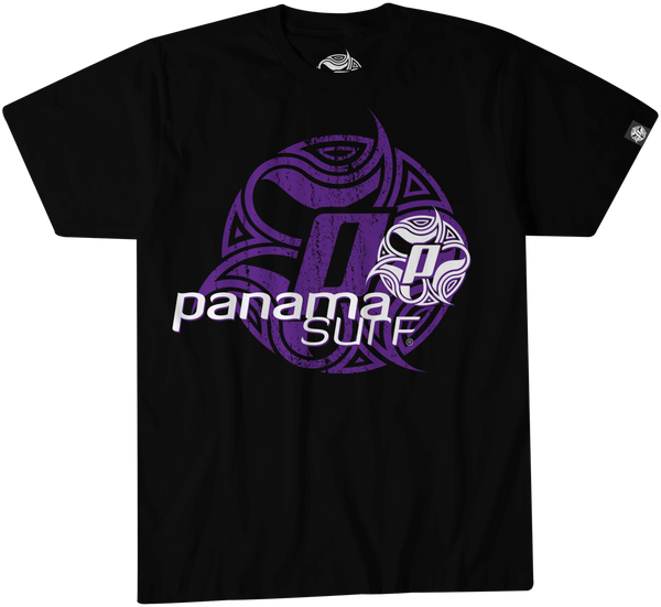 Logo Squared in white and purple over a black premium fitted short sleeve crew neck tee. Super-soft 100% combed ring-spun cotton high-end jersey 4.3 oz. from the Panama Surf® apparel line.