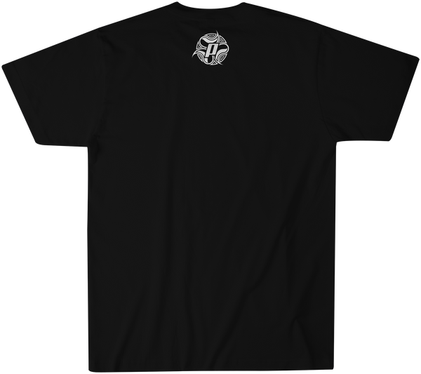 Back side of Logo Squared in white over a black premium fitted short sleeve crew neck tee. Super-soft 100% combed ring-spun cotton high-end jersey 4.3 oz. from the Panama Surf® apparel line.