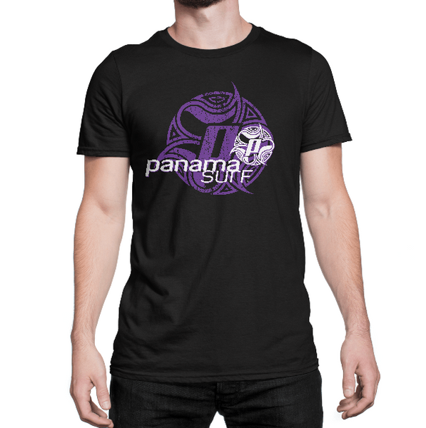 Man with Logo Squared in white and purple over a black premium fitted short sleeve crew neck tee. Super-soft 100% combed ring-spun cotton high-end jersey 4.3 oz. from the Panama Surf® apparel line.