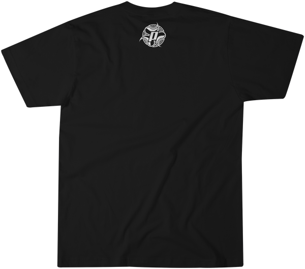 Back side of Multi Board design in over a black premium fitted short sleeve crew neck tee. Super-soft 100% combed ring-spun cotton high-end jersey 4.3 oz.