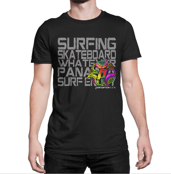 Man wearing Multi Board design in over a black premium fitted short sleeve crew neck tee. Super-soft 100% combed ring-spun cotton high-end jersey 4.3 oz.