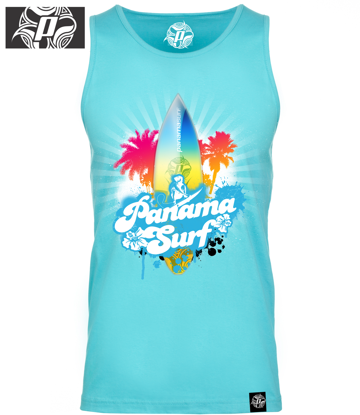 Super-soft jersey tank 100% combed cotton jersey in tahiti blue with the Palm Explosion graphics - Panama Surf